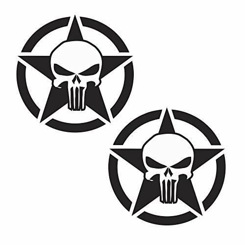 Punisher Star JEEP Set of 2 Vinyl Decal Sticker Off Road CJ YJ Wrangler Renegade