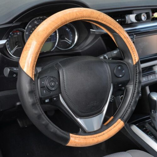Official ACDelco Strong-Grip Synthetic Leather Steering Wheel Cover Light Wood