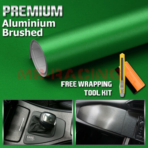 """*12/""""x60/"""" Brushed Aluminum Green Vinyl Wrap Sticker Decal Air Release Bubble Free"""