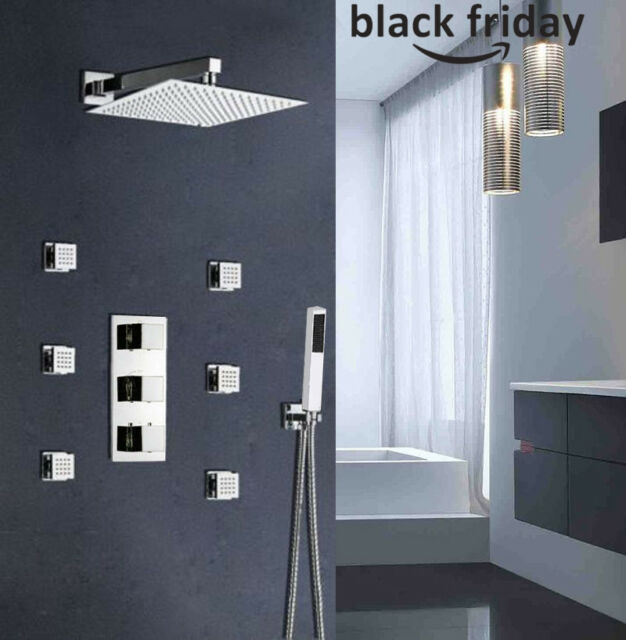 Thermostatic Shower Faucet Rainfall With Mage Body System Jets Mixer Chrome
