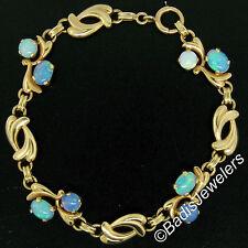 "Vintage Retro 14K Yellow Gold 7.5"" Cabochon Australian Opal & Open Link Bracelet"