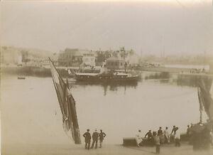 PHOTO-ANCIENNE-VINTAGE-SNAPSHOT-DIEPPE-PORT-BATEAU-BOAT-1897