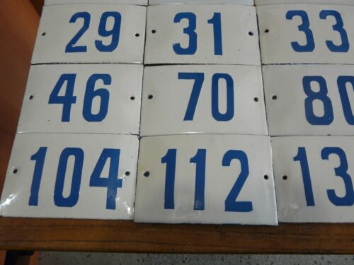 2 to 188 Vintage Porcelain Enamel Tin Sign Street House Numbers Big Choice