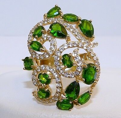 GENUINE 3.70cts! Chrome Diopside & White Topaz Cluster Ring, Solid Silver 925!