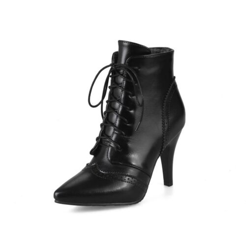 Womens Party Shoes Synthetic Leather High Heels Lace Up Ankle Boots UK Size b033