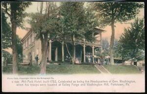 POTTSTOWN-PA-Mill-Park-Hotel-George-Washington-Headquarters-Antique-Postcard-Vtg