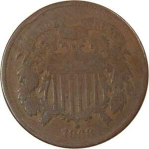 1868 Two Cent Piece AG About Good Bronze 2c US Type Coin Collectible