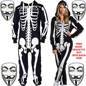 Unisexe-Femme-Homme-Une-Seule-Piece-Combinaison-Piste-suite-Squelette-Halloween-Party