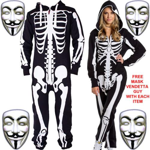 New Unisex Men/'s Women/'s one piece Jumpsuit Track Suite skeleton Halloween Party