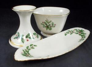 Lenox-HOLIDAY-Relish-Dish-Treat-Bowl-amp-Flared-Candlestick-Dimension-shape-A