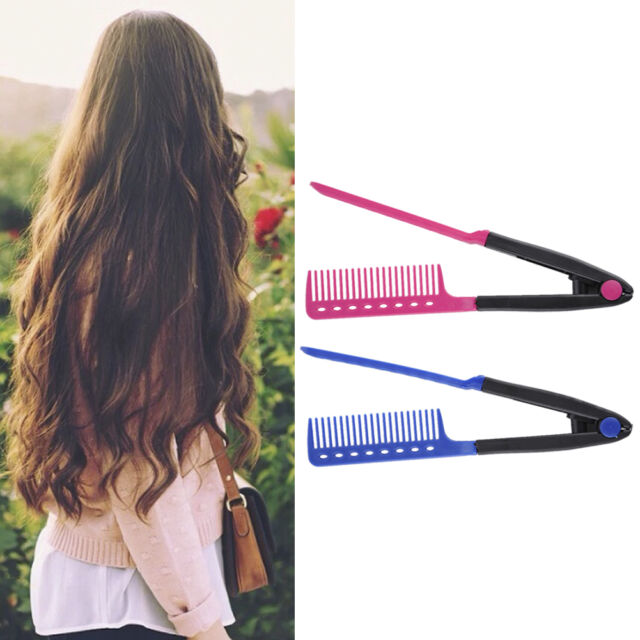 Hair Straightener Brush Straightening V Styling Comb Hairdressing Salon Folding