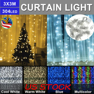 3M-x-3M-304LEDs-LED-Window-Curtain-String-Fairy-Lights-Wedding-Garden-Home-Decor
