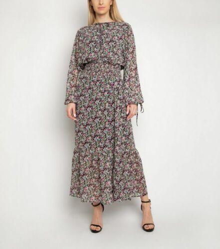 New Women  Keyhole Long Sleeve Multicolour Floral Print Shirred Ruffle Hem Dress