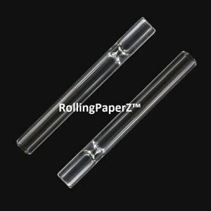 "2x  /'Lock N Load/' Glass Chillum Tobacco Taster Pipes w//Cap 9mm x 3/"" Length"