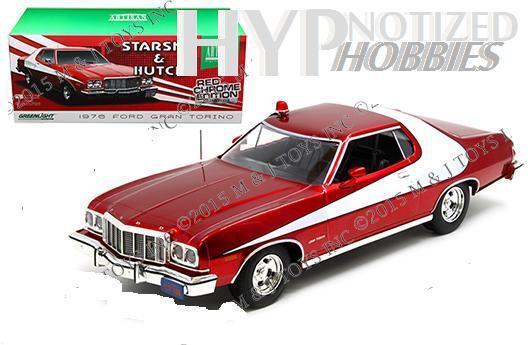 GREENLIGHT 1 18 STARSKY & HUTCH 1976 FORD GRAN TORINO RED CHROME EDITION 19023