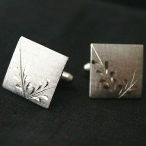 Vintage cufflinks striped Deco ovals and little leaves 40s