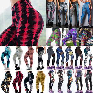 Senora-yoga-deporte-leggings-push-up-cintura-alta-Fitness-Gym-jogger-vomite-pantalones