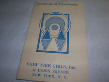 Antique 1938 Certificate of Membership CAMP FIRE GIRLS NEW YORK Vintage x