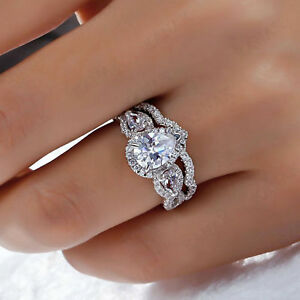 Certified-2-95Ct-Pear-Cut-Diamond-Engagement-Wedding-Ring-Sets-14K-White-Gold