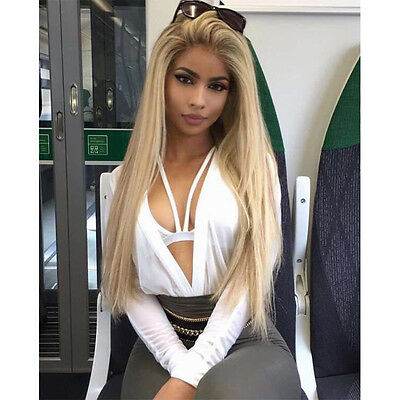 #10/16 Glueless Full Lace Wigs 100% European Virgin Human Hair Wigs Remy Blonde
