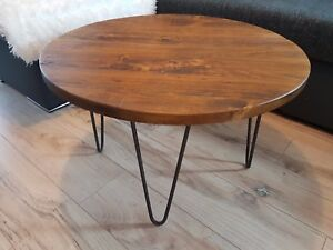 Details About Rustic Industrial Wooden Round Table Metal Hairpin Legs