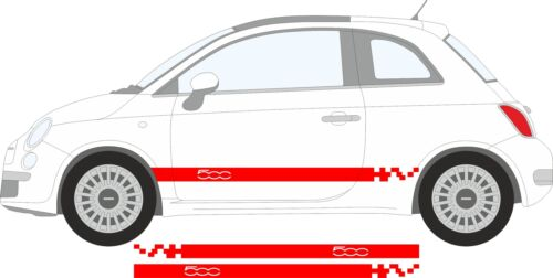 Fiat 500 Red Staggered Chequered Side Stripes stickers graphics decals A738