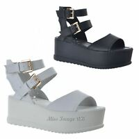 LADIES WOMENS SUMMER PEEP TOE MID WEDGE SANDALS ANKLE STRAP FLATFORM SHOES SIZE