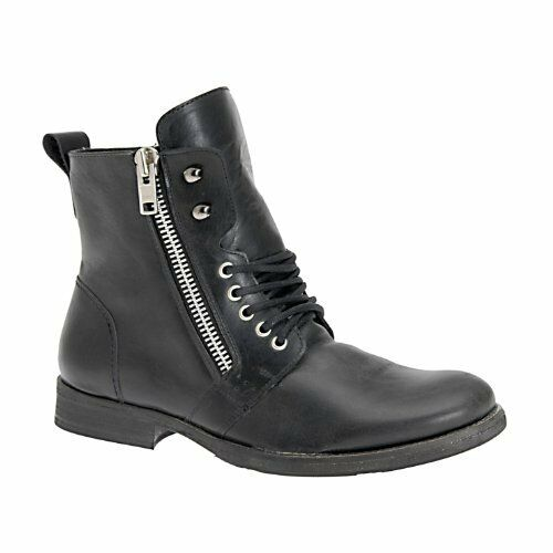 ALDO STATTELMAN  MENS SIDE ZIP BOOTS - BLACK LEATHER size 43 NEW   200