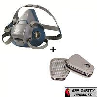 3m 6500 Series Half Mask Respirator W/ 1 Pair Of 6001 Ov Cartridges (s, M, & L)