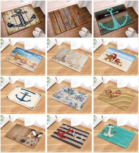 Nautical Anchor Beach Ocean starfish Waterproof Fabric Shower Curtain Bath Mat
