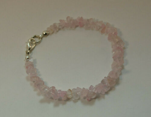 Edelstein Armband mit Rosenquarz Splittern Rosenquarz Armband