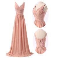 2015 Vintage Womens V Neck Chiffon Sleeveless Ruched Pleated Maxi Long Dress