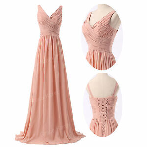 2015-Vintage-Womens-V-Neck-Chiffon-Sleeveless-Ruched-Pleated-Maxi-Long-Dress