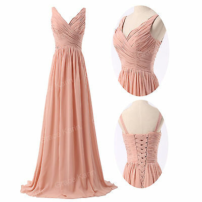 New Women's Long Sexy Deep V Bridesmaid Cocktail Prom Evening Party Formal Dress