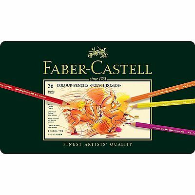 FABER CASTELL  POLYCHROMOS  ARTISTS QUALITY COLOUR PENCILS - 36 SET - BNIB