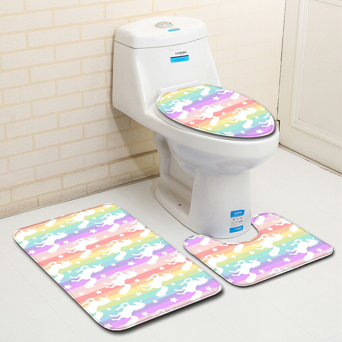 3pcs//set Polyester Fiber Bathroom Non-Slip Pedestal Rug Lid Toilet Cover BathMat