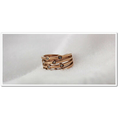 14K Rose GP Unique Ring/Hypoallergenic Stainless Steel/Free Shipping