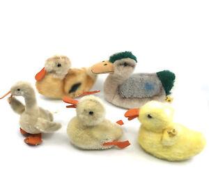 Steiff-Duck-Goose-Lot-5-Plush-Mohair-Mallard-Tulla-Play-Squeaker-1960s-70s-2-ID