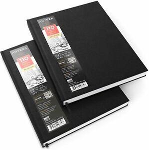 Arteza-Hardbound-Sketchbook-8-5-034-x-11-034-110-Sheets-Pack-of-2
