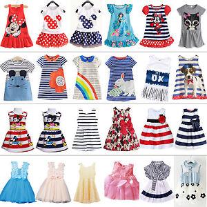ff60ce2a99d35 Image is loading Kids-Girls-Cartoon-Princess-Dress-Summer-Party-Casual-