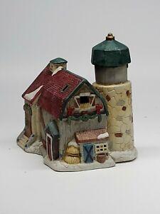 Ceramic-Christmas-Barn-silo-Village-Building-w-Light-Hole-RETAILER