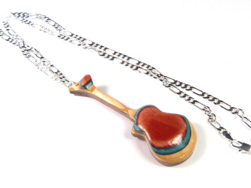 RECYCLED SKATEBOARD Wooden HANDMADE Guitar Necklace Jewellery Cool Unusual Gifts