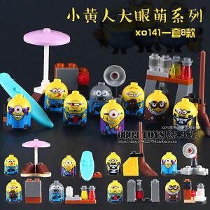 Custom Despicable Me Minions Minifigure 8 pcs set