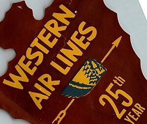 c America/'s Oldest Airline ~WESTERN~ Great Indian ARROWHEAD Luggage Label 1955