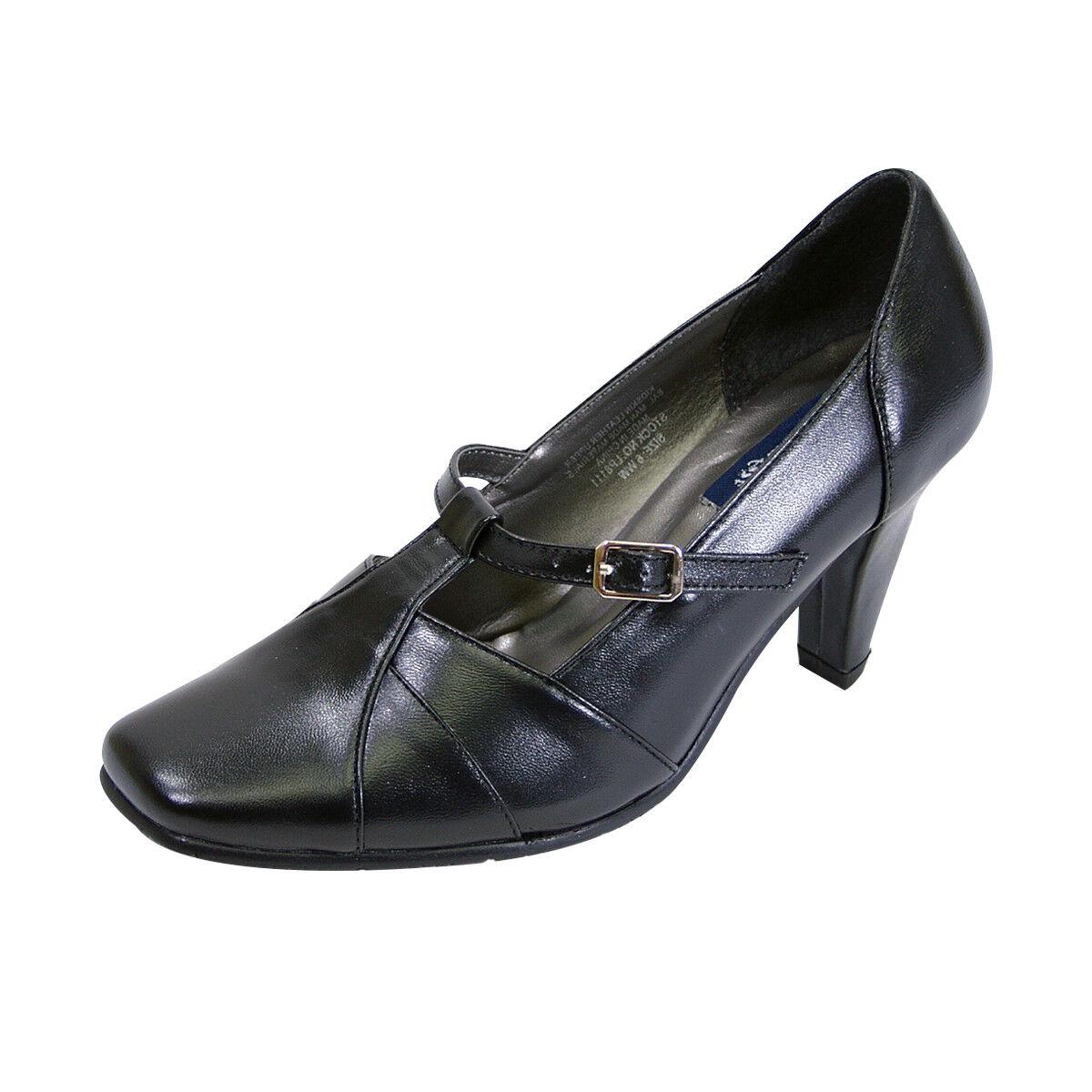 PEERAGE Isabel Toe Damens Wide Width Square Toe Isabel T-Strap Buckle Dress Leder Pump 3d9cc8