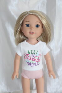 """Doll Clothes fits American Girl 14/"""" Wellie Wisher White T-Shirt"""