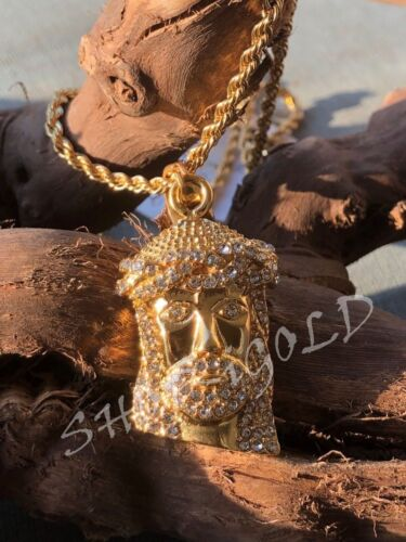 """MENS 316L STAINLESS STEEL /""""JESUS HEAD/"""" PENDANT WITH 24/"""" ROPE CHAIN SET"""