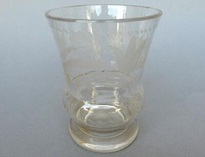 Beidermeier Mug Glass Hand Cut Flowers Around 1850 Decorative Arts