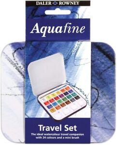 Daler Rowney AQUAFINE 24 Acquerelli Godet Travel Set Scatola Metallo +1 Pennello