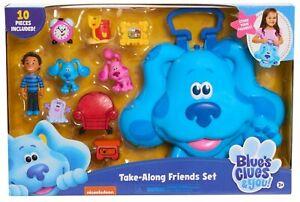 TAKE-ALONG-FRIENDS-SET-Blue-039-s-Clues-amp-You-Figures-Carry-Case-Shovel-Pail-Josh